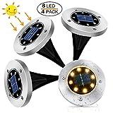 Luces Solares para Exterior Jardin 8 leds, 4Pcs 100LM Luz Cálida IP65 Focos led Exterior Solar...