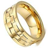 Flongo 9mm Edelstahl Ring Ringe Band Gold Golden Gravierte Gravur Welle Design Drehbar Charm Charme Elegant Herren, 67mm