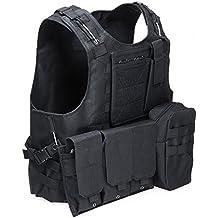 chalecos tácticos, Anfibio chaleco táctico militar Molle chaleco Combate Asalto Placa camuflaje chaleco del portador (black)