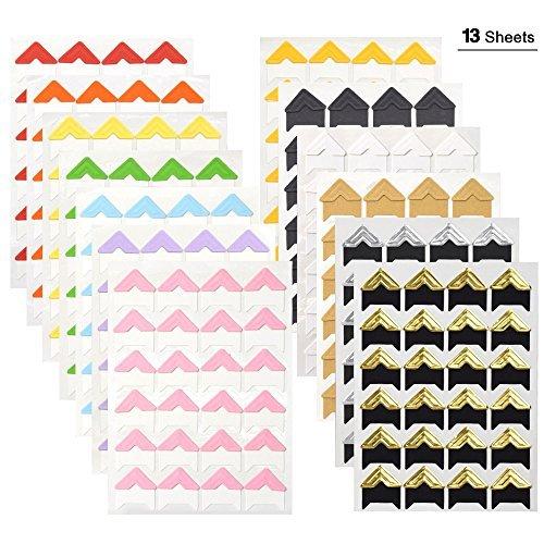 WXJ13 13 Blatt 13 Farben Fotoecken Foto Ecken, selbstklebend, für DIY Scrapbooking, Foto-Album