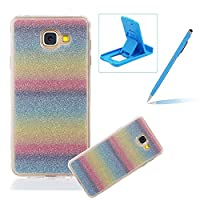 For Samsung Galaxy J2 Prime Cover,For Samsung Galaxy J2 Prime Rubber Case,Herzzer Super Slim [Rainbow Striped Gradient Color Changing] Dust Resistant Soft Flexible TPU Bling Glitter Protective Case for Samsung Galaxy J2 Prime + 1 x Free Blue Cellphone Kickstand + 1 x Free Blue Stylus Pen