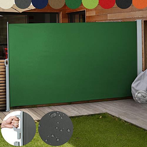 Jago Seitenmarkise Farbauswahl/Größenauswahl (160x300cm, 180x300cm, 200x300cm), für Balkon Terrasse Garten Sonnenschutz Sichtschutz Windschutz , (Grün/200x300 cm)