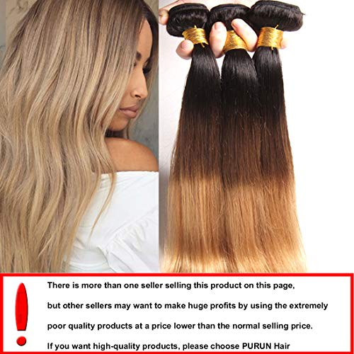 574b022c75883d Ombre 1b 27 Blonde Straight Hair 3 Bundles With Brazilian Hair Straight  Weave Unprocessed Virgin
