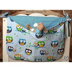 Betttasche blau, Eulen, Streifen, Utensilo, Laufstalltasche aus Baumwolle