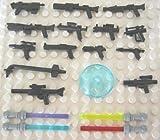 LEGO® + LITTLE ARMS - WAFFENSET - 18 VERSCHIEDENE WAFFEN für STAR WARS FIGUREN - Laserschwerter Blaster + seltene RADARSCHÜSSEL in TRANSPARENT BLAU 3x3 NOPPEN