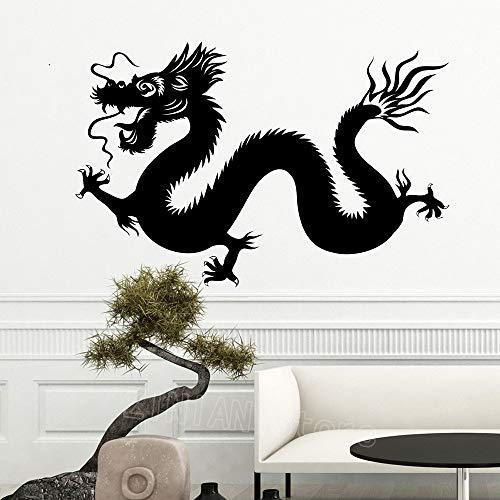guijiumai Asian Dragon Decal Mode Schlafzimmer Dekor Vinyl Tier Wandaufkleber Wohnkultur Wohnzimmer Tv Hintergrund Maskottchen Aufkleber weiß 64X42 cm