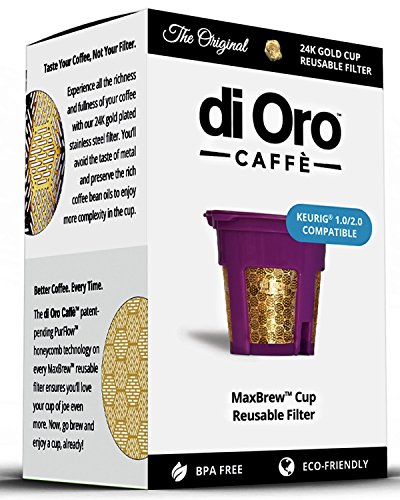 Di Oro Caffè - MaxBrew 24K Dorado Reutilizable k-Jarra/K-Taza/Filtro De Agua Para Keurig 2.0 - Taza Reutilizable Filtro