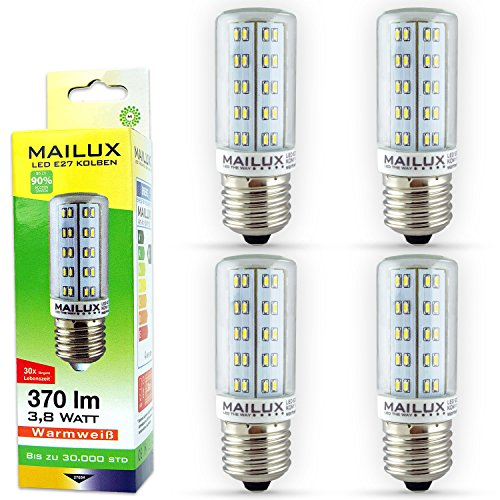 MAILUX–kon11127LED Bombilla de bajo consumo | pistón | E273,8W, transparente, 380lm, 360°, luz blanca cálida de 3000K, equivale a 35W aprox., 1er Pack, E27, 3.8 wattsW