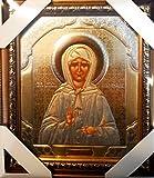 Bild mit Rahmen Ikone Matrona, die hochverehrte selige Stariza Moskaus geweiht Größe: 20 x 23 x 2 cm Russische Ikone Матрона Московская