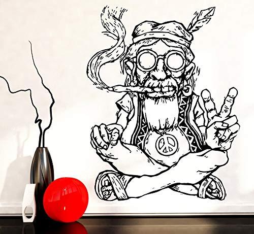 mmzki Rauchen Unkraut Marihuana Frieden Wandaufkleber Abnehmbare Vinyl Wandaufkleber Hippie In Brille Symbol Ethnic Decor Wandtattoo 57 * 84 cm