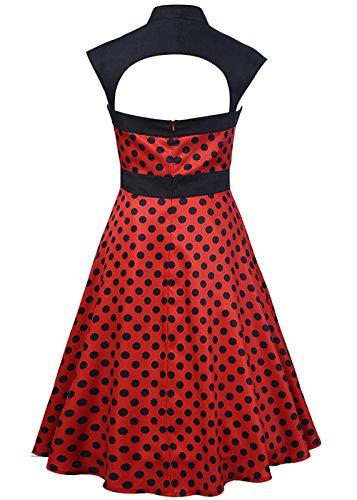 Vestiti da swing vestiti da cocktail vintage senza maniche corti Rosso
