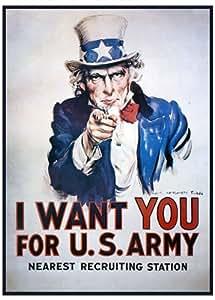 Poster Uncle Sam (Oncle Sam) I want You for U.S. Army (66cm x 96cm) + un poster surprise en cadeau!