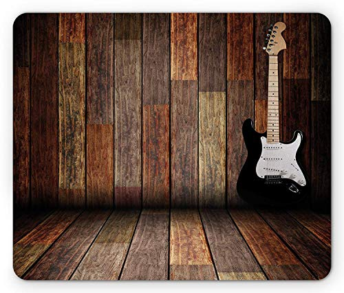 SHAQ Popstar Party Mouse Pad Mauspad, Electric Guitar in The Wooden Room Country House Interior Music Theme, Standard Size Rectangle Non-Slip Rubber Mousepad, Brown Black White - Guitar Popstar