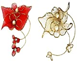 Kabello Hair Decoration Artificial Flowers (Red+Golden)