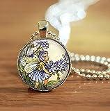 Collar de hada de flores de Chicory, flor azul, colgante de azulejos de cristal, diseño de hadas de arte en el jardín