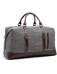 Bagail Canvas Leather Men Travel Bags Carry On Luggage Bags Duffel Bags Tote Large Weekend Overnight Bag