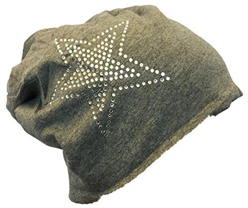 Miobo Baby Kinder Jersey Slouch Beanie Long Mütze mit Strass Stern Unisex Baumwolle Trend 2Stern-Anthrazit-S