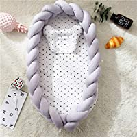 TEALP Baby Lounger Portable Baby Nest Pod/Sleeping Newborn Infants Bassinet Soft and Safe Mattress with Detachable Braided Bumper (0-24 Months)
