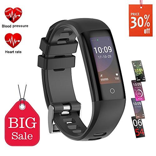 Pulsera Actividad, Pulsera Inteligente Reloj Deportivo Inteligente Pantalla a Color con Monitor de Frecuencia Cardíaca, Podómetro, Contador de Calorías, Monitor de Sueño, para Smartphone iOS Android