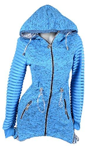Damen Pastiche Kaputze Übergangsjacke gefüttert Fleece Hoody zipfel Jacke Long Pullover Winter Übergang 34 36 38 40 42 XS S M L XL Türkis Blau (34)