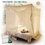 Klamboe Rechteckiges Moskitonetz Überlegenes, handgemachtes, Rechteckiger Mückennetz - 210cm x 200cm x 235cm- Twin Standard - Khaki