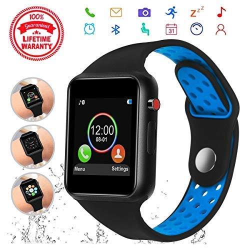 Smartwatches - Smartwatch da polso con touch screen, con scheda SIM e slot per scheda SD, fotocamera, contapassi, compatibile con iOS, iPhone, Android, Samsung, per uomo e donna, con scheda di memoria