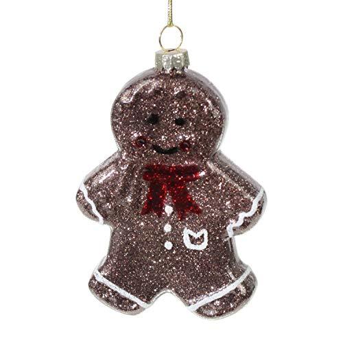 2X Lebkuchenmänner Glas 9x6cmWeihnachtsschmuck Weihnachtsdeko Hänger Weihnachten Dekoration Christbaumschmuck Tannenbaum Lebkuchen Mann Gingerbread (Weihnachten Lebkuchen Dekoration)