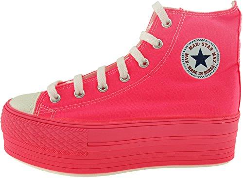 Maxstar C50 7 trous avec fermeture Éclair haute et plateforme Baskets chaussures Rose - All-Neon Pink