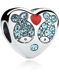 Diciembre Birthstone I Love You corazón 925plata esterlina, Celeste y rojo CZ peces Animal Bead regalos de Navidad para pulsera Europea por chengmen joyas