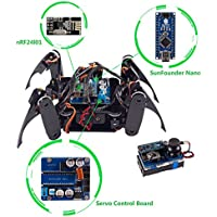 SunFounder Kit de rastreo robot cuadrúpedo DIY para Arduino con Nano Board Remote Control (Negro)