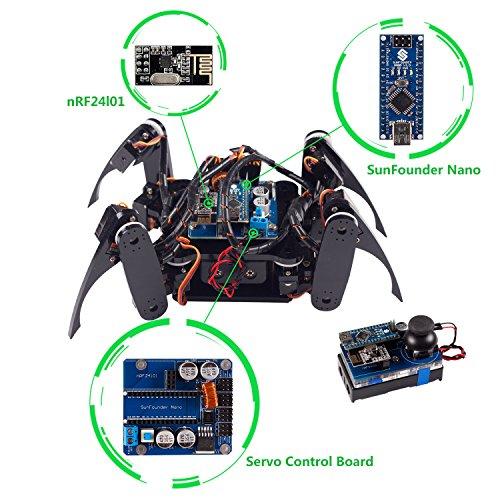 SunFounder Roboterbausatz Programmierbarer Roboter Crawling Quadruped Robot DIY Kit for Arduino with Nano Board Remote Control (Blk-steuerung)
