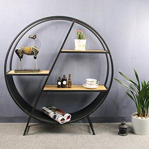 Libreria sexy- mensola rastrelliere rotonde in ferro battuto ornamenti decorativi americano vintage ▾ ristorante portavini (colore : round shelf)