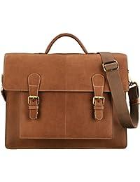 STILORD 'Lorenz' Grande Maletín de piel Bolso Bandolera Ejecutivo Trabajo business bag 15,6 pulgadas Vintage Piel auténtico de color marrón