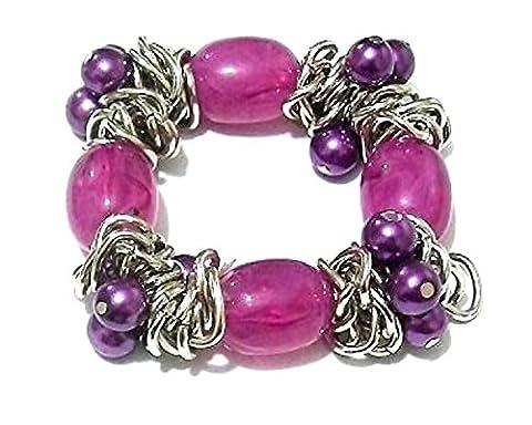 Damen Silber Violett Perlen Dehnbares Armband Armreif Party Geschenk Kostüm Schmuck (Bilder Von Moulin Rouge Kostüme)