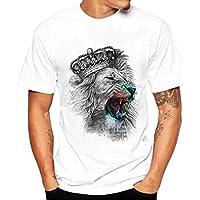 Yvelands White T-Shirt Hombres Moda O-Cuello Ocasional Impreso Camisetas Slim Blusa Top Party Beach Verano, Liquidación