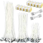 Hysagtek 312 Pieces Candle Making Supplies, Candle Wick Stickers 2mm, 150 Pieces Candle Wick, 8 inch, 6 inch,