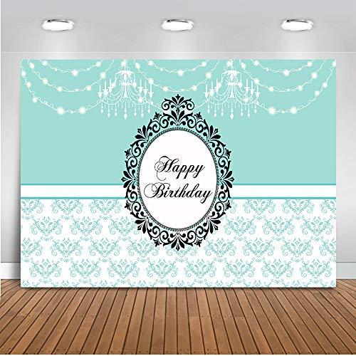 Mehofoto Happy Birthday Kulisse 7x5ft Vinyl Kronleuchter Dekoration 1. Geburtstagsfeier Banner Fotografie Hintergrund für Prinz und Prinzessin