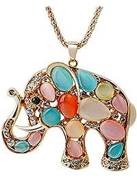 Dayiss® Kristall Vergoldetekette Exotisch Geschenke für Frauen Mädchen nachgeahmte Katzenaugen Schmuck Elefant Pulloverkette