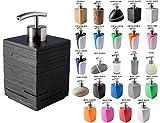 Seifenspender, viele schöne Seifenspender zur Auswahl, hochwertige und stabile Qualität mit Edelstahlpumpe, modernes Design (Black Cube)