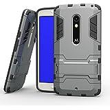 Casefashion® Funda Resistente al Impacto Antideslizante Ligera con Soporte para Motorola Moto X Play Carcasa Protectora Antigolpes Anticaída Protector Case Cover - Gris