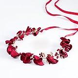 ZGP &Kopfschmuck Krone Blumen-Kranz, Stirnband-Blumen-Girlande-Handgemachtes Hochzeits-Braut-Partei-Band-Stirnband Wristband Hairband-Rot (Farbe : Red)