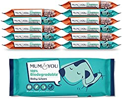 Mum & You 100% Biodegradable Vegan Registered Plastic Free Baby Wet Wipes with Recyclable Packaging, Pack of 12, (672...