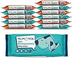 Mum & You Salviettine Umidificate 100% Biodegradabili, Vegane, Confezione Riciclabile, Confezione da 12, (672...