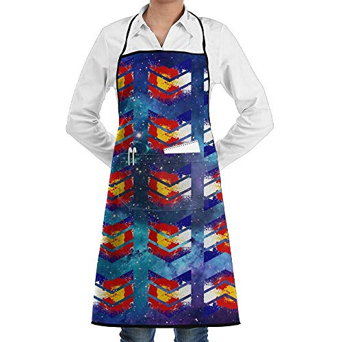 Voxpkrs Colorado State Flag Hiking Bib Chef Apron with Pockets and Extra Long Ties Perfect for Cooking Guide