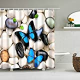Badezimmer Duschvorhang, Top Qualität Anti-Schimmel Duschvorhänge Digitaldruck inkl. 12 Duschvorhangringe, 180x200cm (Schmetterling auf Stein)