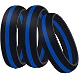 Globby Silicone Wedding Band Ring,3 Pack for Men and Women,Rubber Ring Band is Flexible and Comfortable