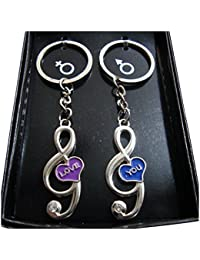 Music Symbol Shape Couple Keychain For Him & Her Best Collectible & Gift Item