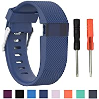Cyeeson Fitbit Charge HR Replacement Watch Band Soft Silicone Wristband Strap Smartwatch Metal Clasp Bracelet Band for Fitbit Charge HR Heart Rate Monitor Watch