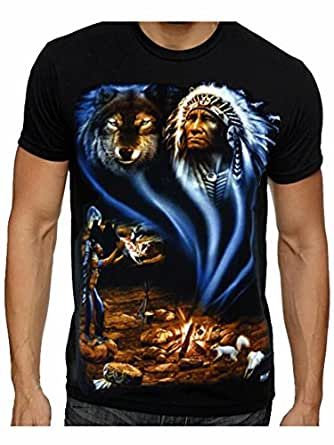 Mens Native American Indian Wolf Eagle Biker t-shirt ...