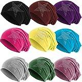 Hatstar Klassische Strass Stern Steine Jersey Slouch Long Beanie Mütze, leicht und weich für Damen und Mädchen (Flieder)